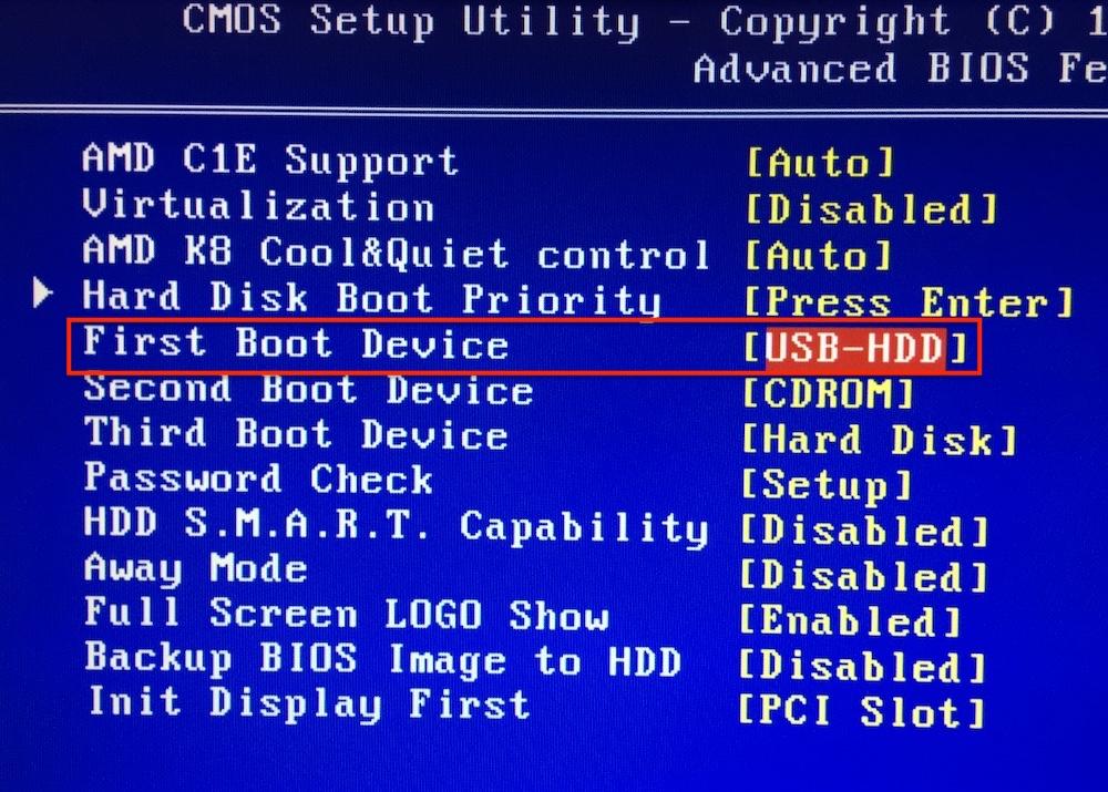BIOS загрузка с USB-флешки