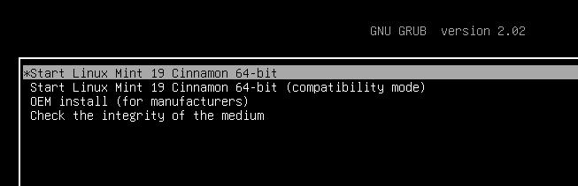 Linux Mint меню GRUB