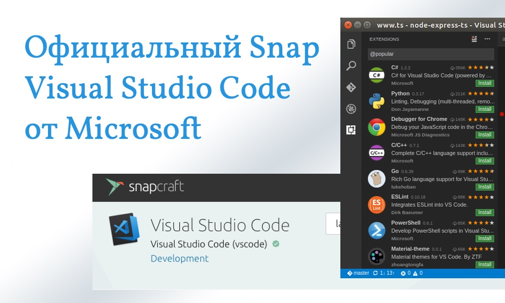 Microsoft Visual Studio Code Snap для Linux