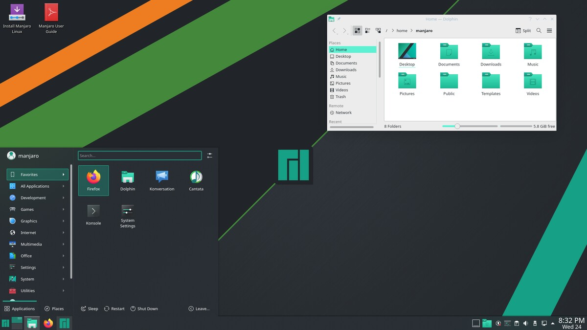 Manjaro 21 - Среда KDE Plasma