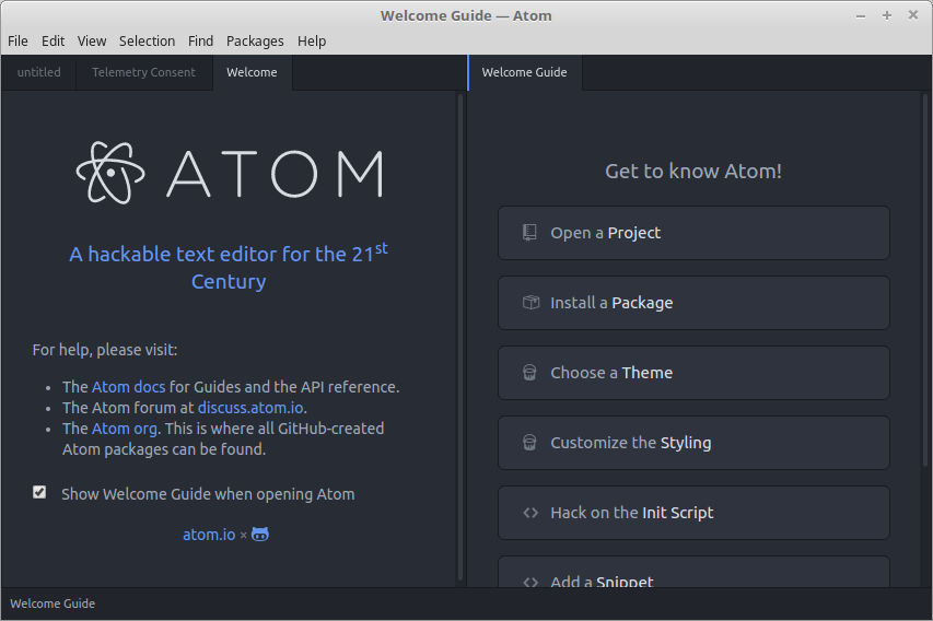 Welcome screen при запуске Atom