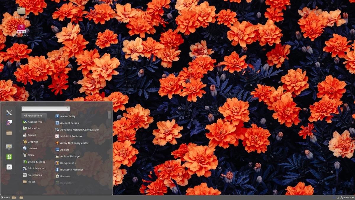 Debian 10.5 Buster: Главное меню (среда Cinnamon)