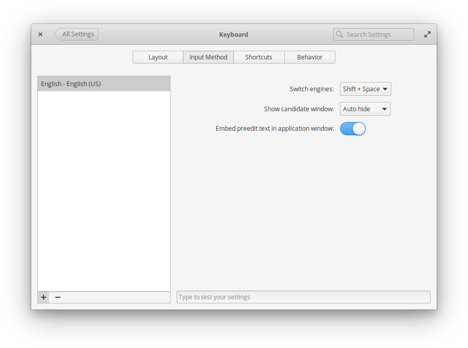 Elementary OS 5.1.7: Методы ввода