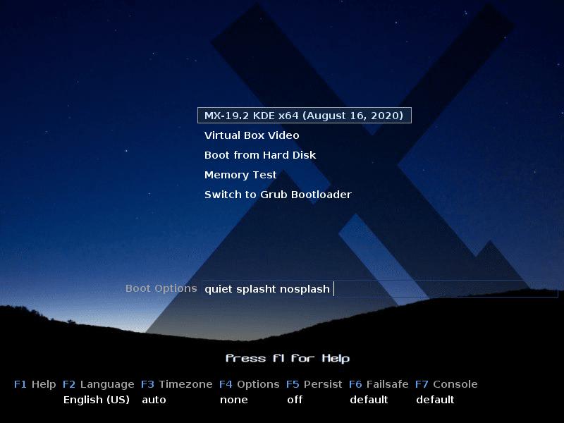 MX Linux 19.2 KDE: Загрузочное меню