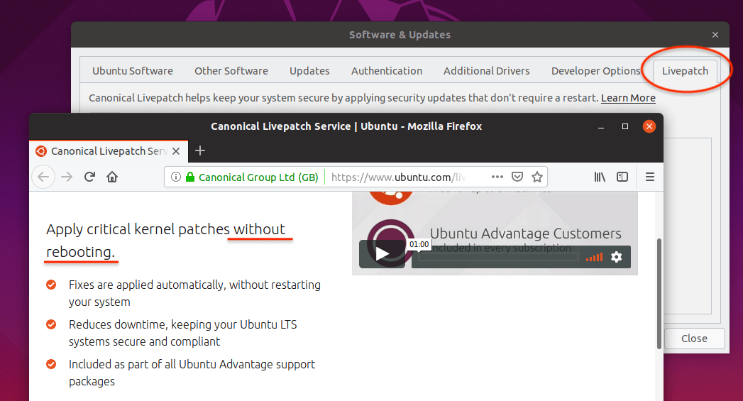 Ubuntu 19.04 Live patch