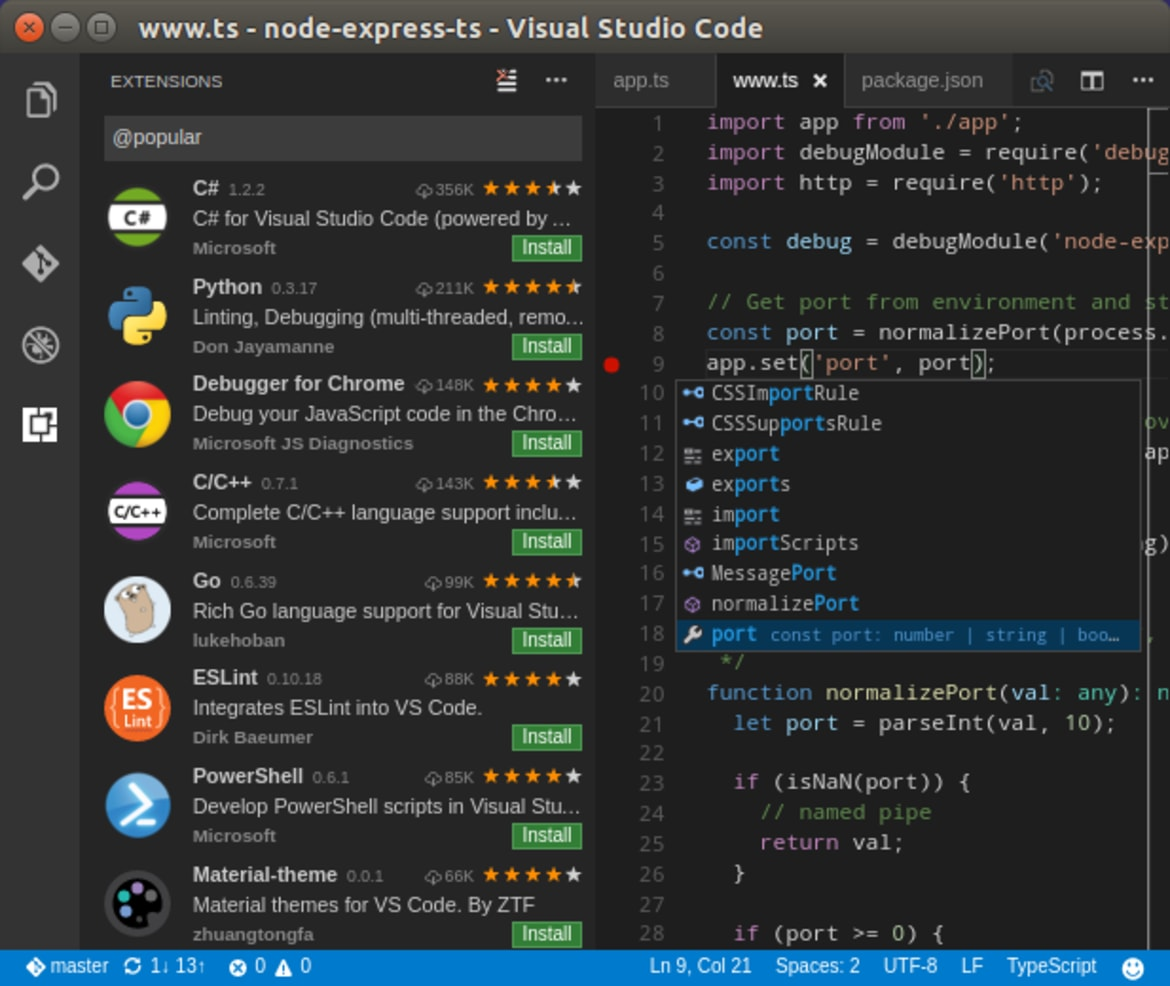 Visual Studio Code Snap для Linux