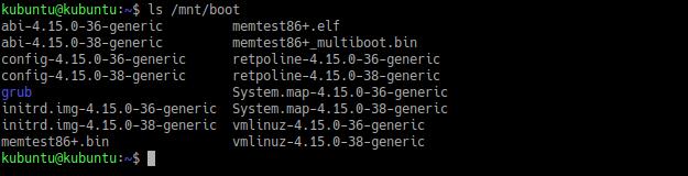 Восстановление GRUB. Список файлов в boot