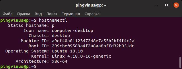 hostnamectl команда Linux - информация о системе