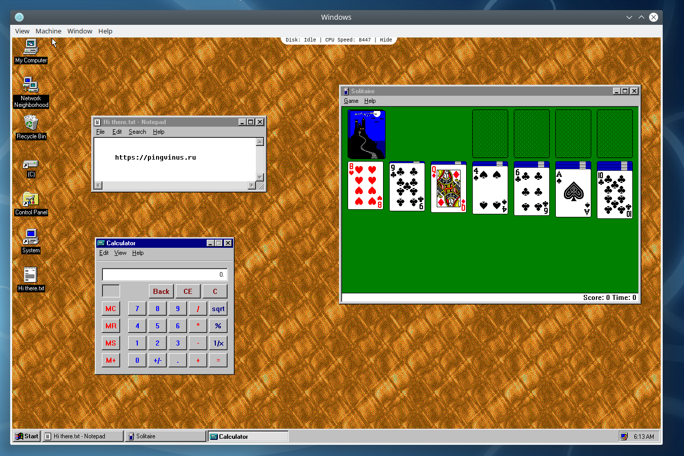 Windows 95 в Linux