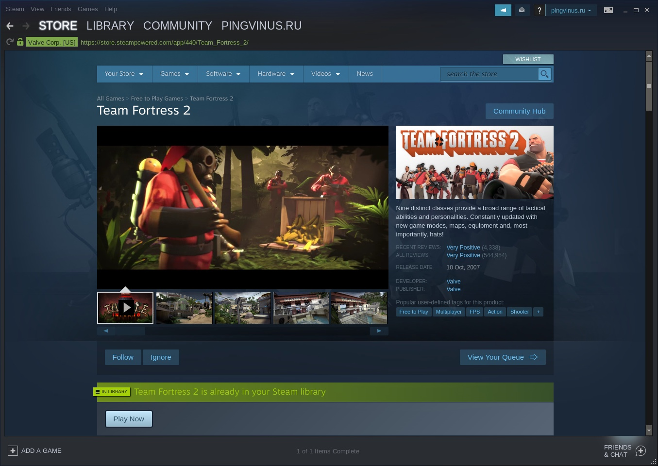 Team Fortress 2 в Steam для Linux