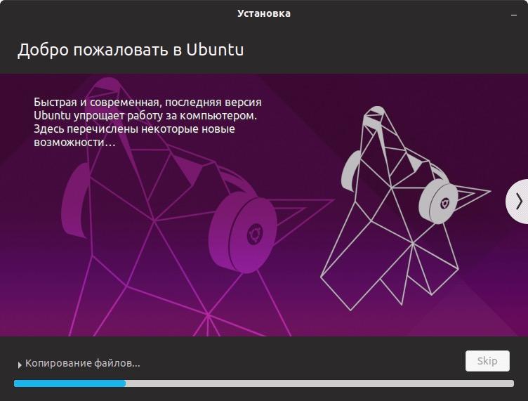 Установка Ubuntu 19.04: Процесс установки